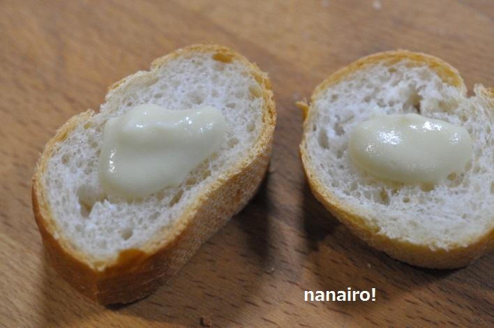 フランスパンとにんにくのスプレッド。