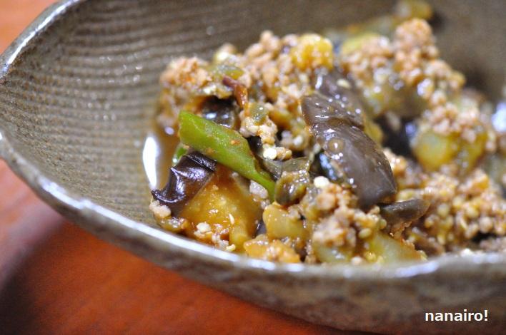秋茄子とピーマンの肉味噌炒め